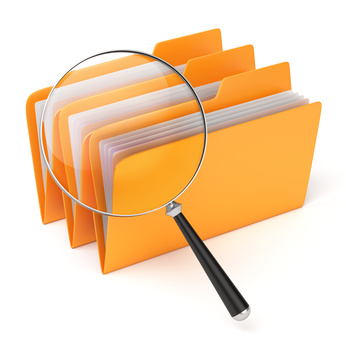 Very high resolution 3d rendering of three yellow folders under a magnifier.